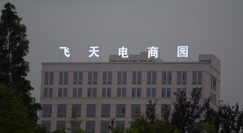 飞天电商园楼顶大型外露灯发光字工程